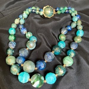 Blue Marbleized Lucite Beaded 2 Strand Necklace